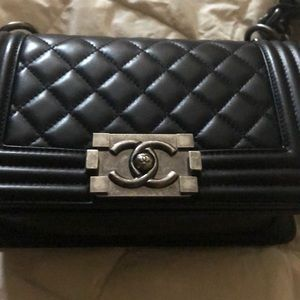 Chanel sz small lambskin Boy bag with ruthenium HW